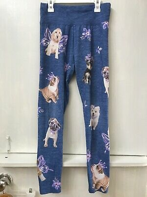 Justice Size 18 Blue leggings pants Puppy Dogs Bulldog Pug Lab Pomeranian Print