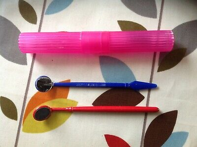 Lovely Teeth Mirrors And Toothbrush Travel Holder In Sound Clean Condition