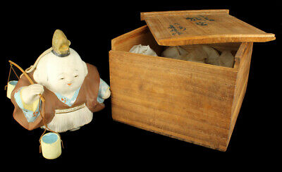 Antique Japanese Hakata Gosho Ningyo Palace Doll Clay Man Figurine Original Box!