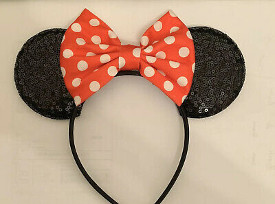 New 2020 Great For Disney Parks Red Sequin Minnie Mouse Ears Bow Headband