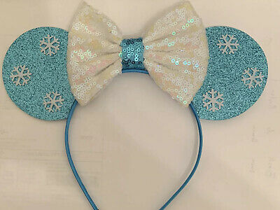 New 2020 Great For Disney Parks Frozen Sequin Mouse Ears Bow Headband