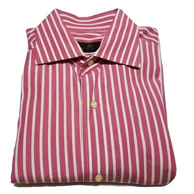 Etro 40 Long Sleeve Button Front Shirt Mens  Italy Pink White Stripes