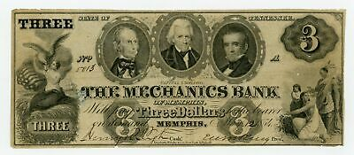 1854 $3 The Mechanics Bank of Memphis, TENNESSEE Note