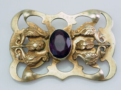 large antique Art Nouveau large bronze pin brooch with purple crystal cabochon