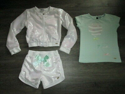 Girls Ariana Dee 3 Pce Sequin Shorts Set White/Mint Age 10 Yrs A Dee