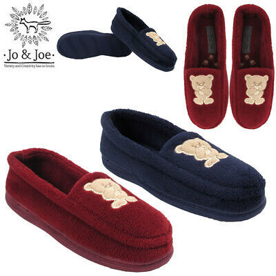 New Ladies Teddy Bear Textile Moccasin Slip On Warm Mules Shoes Size Uk 3-8