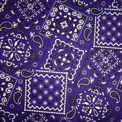 Blazin Bandanas Purple Bandana Pattern Cotton Fabric by the Yard