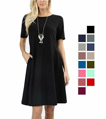 Premium Cotton Short Sleeve A-Line Dress w/ Pockets Loose Relaxed