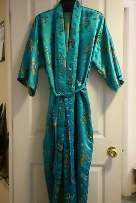 Vintage Golden Dragon Kimono Satiny Silky Robe Dressing Gown