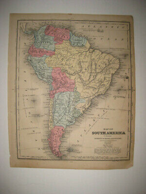 Antique 1859 South America Dated Handcolored Map Population Brazil Argentina Nr