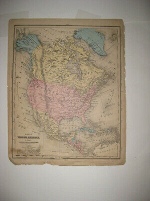 Antique 1859 North America Dated Map United States British Canada Mexico Texas N