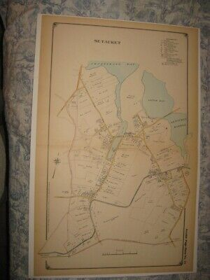 Large Vintage Antique 1917 Setauket Suffolk County New York Handcolored Map Fine