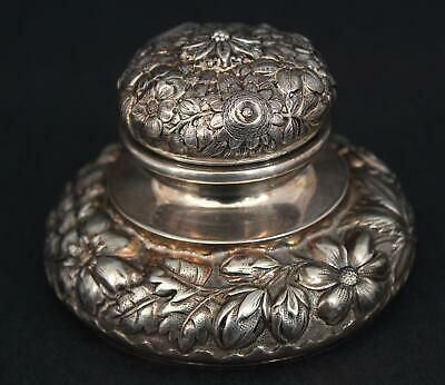 Antique Simpson Hall Miller & Co Silverplate Floral Repousse Inkwell, NR