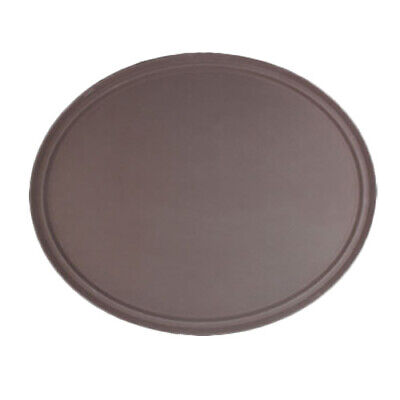 "Thunder Group 22"" x 27"" Fiberglass Heavy Duty Oval Serving Tray - Brown"