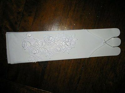 Classy Bridal Gloves Arm Warmers Lace Wedding~Handmade~White #09 New