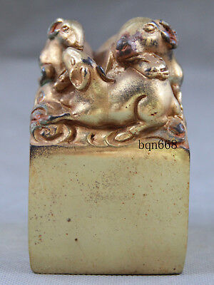China old antique Bronze gilt mother son sheep qing Emperor seal statue