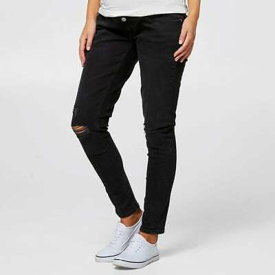 Ladies size 16 BLACK denim MATERNITY over the belly SKINNY Jeans rips Target NEW