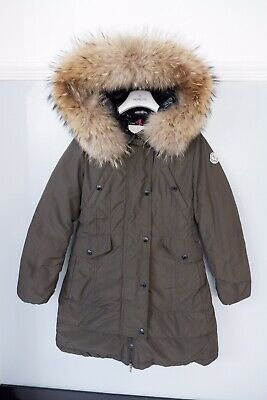 Moncler Khaki Green Down Coat  Age 10 Years Vgc Fur Hood Arrious Giubbotto