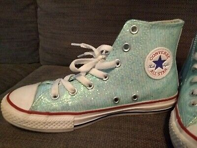 Girls Converse All Star Hi Tops Sz 2 Awesome Condition Blue Glitter