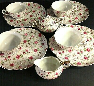 Vintage Lefton Rose Chintz Snack Tea Set. Creamer Sugar 4 Cups & Saucers