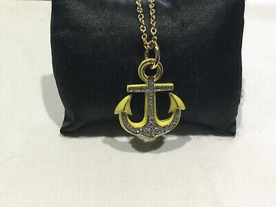 NWT Juicy Couture New & Gen. Long Chain With Diamanté Yellow Anchor Pendant