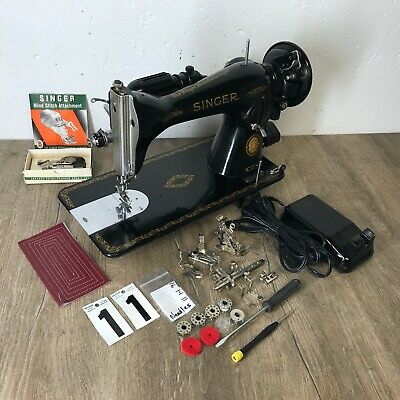 1956 Singer 15 91 Sewing Machine Heavy Duty Serviced Works Perfect Blind Stitch