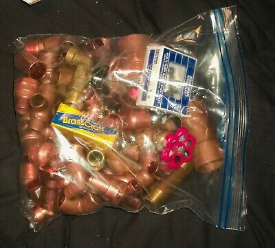 Copper plumbing fittings & adapters & valves Lot of 87 New