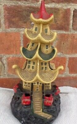 "Vintage Oriental Pagoda Incense Candle Burner 13"" Tall"