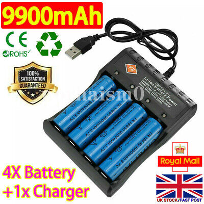 4PC 18650 Batteries 9900mAh 3.7V Rechargeable Li-ion Battery + 4Slot USB Charger