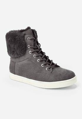 Justice Girls Sz 13 Fur Back High Top Sneakers Charcoal Gray Brand New With Tag