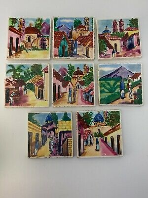 Hand Painted Small 8 Tiles Mexican Cities Vintage Uruapan Taxco Ameca Scenes