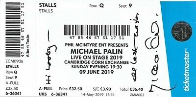 Rare Sir Michael Palin Cbe Signed Theatre Ticket Monty Pythons Flying Circus