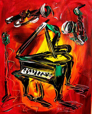 PIANO JAZZ  Abstract Oil Painting  Original Canvas Wall Decor Impressionist