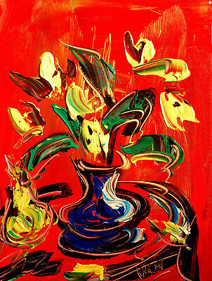 TULIPS ART Abstract Oil Painting   Original Canvas SIGNED BY KAZAV CANADA