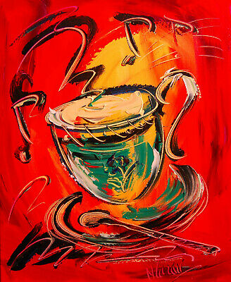 COFFEE ART Abstract Oil Painting   Original Canvas SIGNED BY KAZAV CANADA