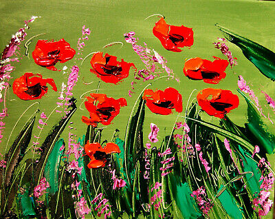 RED POPPIES  Abstract Oil Painting   Original Canvas SIGNED BY KAZAV CANADA