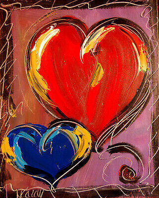 HEARTS Abstract Oil Painting   Original Canvas Wall Decor Impressionist KAZAV