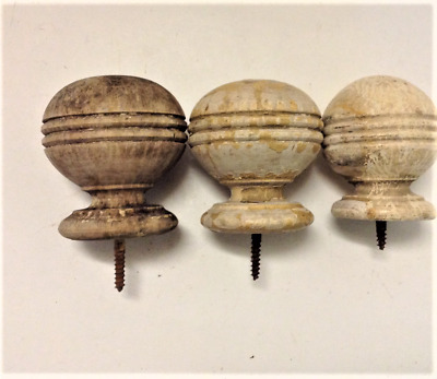 3 Antique Round Wood Finials Primitive Old Chippy Paint Not Matched AS IS