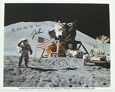 Apollo 15 James Irwin Signed Lunar Surface NASA Lithograph JSA Authenticated