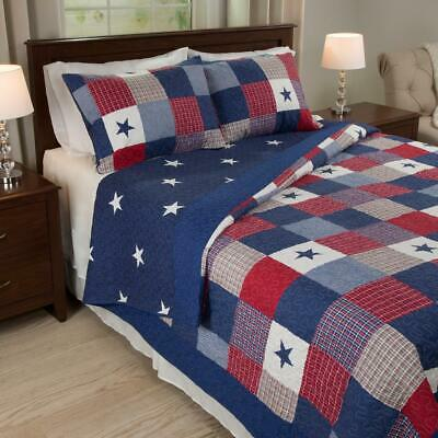 American Stars Stripes 3-piece Quilt Set Pillow Bedspread Blanket KING Size
