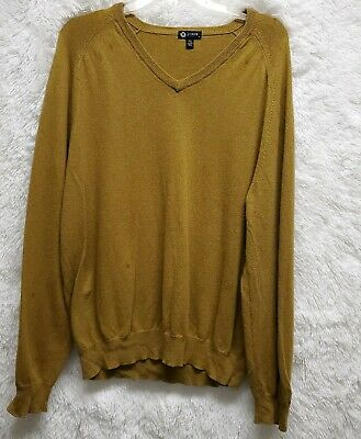 JCrew Mens Cotton Cashmere Sweater Mustard Brown Long Sleeve V Neck Size Large**