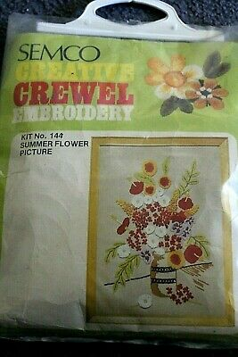 NEW SEMCO large CREWEL embroidery KIT - Summer Flowers 51cm x 63cm  NEW