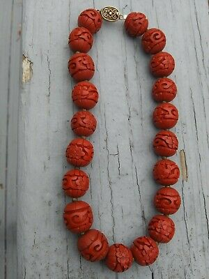 Vintage Hand Carved Cinnabar Red Bead Necklace  Silver Clasp Chinese Antique