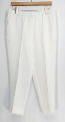 Dennis Basso Pants Sz 14 Textured Pull On Cropped Pocketed White A289808