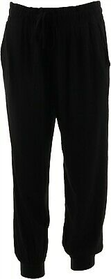 AnyBody Loungewear Petite Cozy Knit Cropped Jogger Pants Black PM NEW A286476