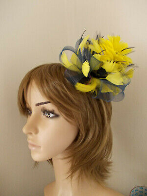 Navy Blue & Yellow Looped fascinator feathers hair clip brooch