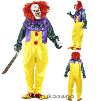CL921 Horror Killer Clown Scary Circus Costume Mens Halloween Pennywise + Mask