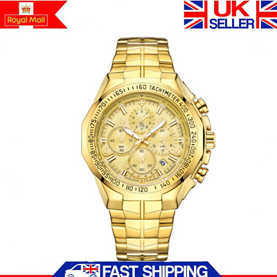 Luxury Gold Mens Automatic Mechanical Watch Skeleton Stainless Steel Wristwatch