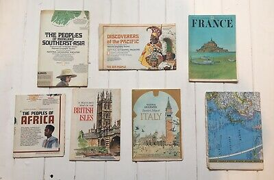 Map Bundle Job Lot X7 | Vintage National Geographic | France Italy World Britain