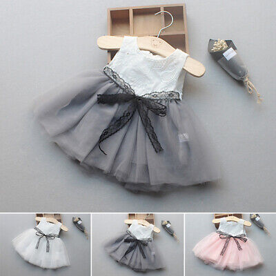 Infant Baby Girls Round Neck Cute Party Wedding Dress A-line Pageant Lace Dress
